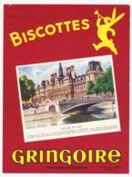 Buvard 15 X 20.2 Biscottes GRINGOIRE L'Hôtel De Ville (de Paris) Poids Net Moyen 290/295 Grs - Biscottes