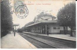 """77 - COULOMMIERS - """" La Gare, Vue Intérieure """" - Circulé 1905 - - Stations With Trains"""