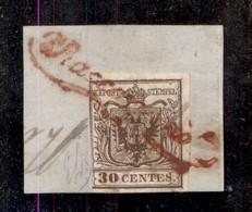 ANTICHI STATI ITALIANI - LOMBARDO VENETO - Raccomandata (rosso - P.ti 12) + Croce (a Penna) Su 30 Cent (7a - Prima Tirat - Postzegels