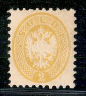 ANTICHI STATI ITALIANI - LOMBARDO VENETO - 1864 - 2 Soldi (41) - Gomma Originale - Diena + Cert. Bottacchi (900) - Postzegels