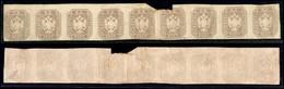 ANTICHI STATI ITALIANI - LOMBARDO VENETO - 1863 - Per Giornali - 1.05 Soldi (11) - Striscia Orizzontale Di 9 - Residui D - Postzegels