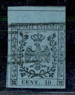 ANTICHI STATI ITALIANI - MODENA - 1852 - 40 Cent (5 - Celeste) Usato - Grande Bordo Foglio Da Interspazio In Alto - Annu - Postzegels