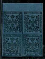 ANTICHI STATI ITALIANI - MODENA - 1852 - 40 Cent (10) - Quartina Bordo Foglio - Gomma Integra - Molto Bella - Postzegels