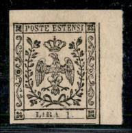 ANTICHI STATI ITALIANI - MODENA - 1852 - 1 Lira (11) Angolo Di Foglio - Gomma Originale - Postzegels