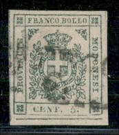 ANTICHI STATI ITALIANI - MODENA - 1859 - 5 Cent (12) Usato - Angolo Di Foglio Con Grandi Margini - Annullamento Leggerme - Postzegels
