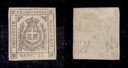 ANTICHI STATI ITALIANI - MODENA - 1859 - 15 Cent (13) Gomma Originale - Senza Filetto Sotto Il Valore - Punto Chiaro - D - Postzegels