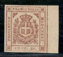 ANTICHI STATI ITALIANI - MODENA - 1859 - 40 Cent (17) - Grandi Margini E Bordo Foglio - Gomma Integra - Molto Bello - G. - Postzegels