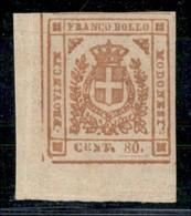 ANTICHI STATI ITALIANI - MODENA - 1859 - 80 Cent (18) Angolo Di Foglio - Gomma Integra - Molto Bello - Postzegels
