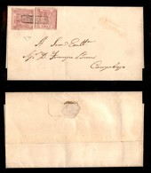 ANTICHI STATI ITALIANI - NAPOLI - Due 1 Grano (3c - Carminio) Su Piego Da Larino A Campobasso - Raro Insieme - Cert. Die - Postzegels
