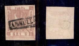 ANTICHI STATI ITALIANI - NAPOLI - 1858 - Doppia Stampa - 5 Grana (8) Usato - Non Catalogato - Cert. AG - Postzegels