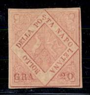 ANTICHI STATI ITALIANI - NAPOLI - 1859 - 20 Grana (13a) - Margini Precisi (appena Rasati In Basso) - Gomma Originale (30 - Postzegels