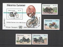 Y391 1985 SIERRA LEONE TRANSPORT MOTORCYCLES #831-4 MICHEL 19,5 EURO BL+SET MNH - Moto