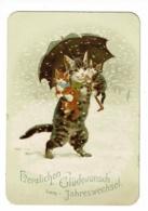 Carton 8 X 11.5 Cm Illustré Chats Humanisés, Chatte Portant Ces Chatons Et Un Parapluie Sous La Neige - Voeux Nouvel An - Alte Papiere