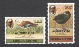Y407 1984 SIERRA LEONE FAUNA BIRDS !!! OVERPRINT #764-65 MICHEL 14 EURO SET MNH - Oiseaux