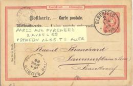 AMBULANT PARIS AUX PYRENEES TàD 2 AVRIL 89 POTHION 1265 TYPE II ALLER Sur ENTIER CP ALLEMAGNE ELBERFELD TàD 1/4 89 - Correo Ferroviario