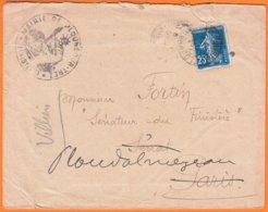 Enveloppe De La MAIRIE De PLOUNEOUR-TREZ  Finistere Pour Le SENATEUR MAIRE Du FINISTERE à PLOUDALMEZEAU En 1920 - Poststempel (Briefe)