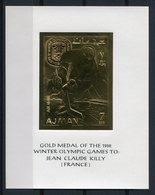 RC 9433 AJMAN JEUX OLYMPIQUES DE GRENOBLE 1968 GOLD MEDAL JEAN CLAUDE KILLY FRANCE BLOC FEUILLET NEUF ** TB - Ajman