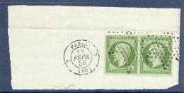 N° 12 X 2 PAIRE OBLITREE ETOILE PARIS 4 DU 18/02/56 SUR FRAGMENT TTB - 1853-1860 Napoleone III