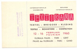 Toegangskaart Textirama - Floralia Paleis Gent 1960 - Tickets - Entradas