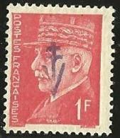 FRANCE LIBERATION . SYLVANES Les BAINS. 1fr**Rouge Pétain . Signé P MAYER - Liberation