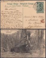 """Congo Belge - EP Vue 15C Vert Foncé Voyagé - Nº106 """" Antilope Cheval """" (DD) DC4558 - Belgisch-Kongo - Sonstige"""