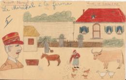 Amusant Document Historique, Dessin D'octobre 1942 Sous Vichy, Le Maréchal à La Ferme, Poules, Oies, Vache, âne - Documents Historiques
