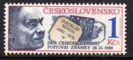 CZECHOSLOVAKIA CESKOSLOVENSKO CECOSLOVACCHIA 1988 STAMP DAY JAROSLAV BENDA GIORNATA DEL FRANCOBOLLO 1k MNH - Cecoslovacchia