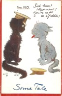 """""""TheT M.O.Black And Grey Cats Talk"""" Curious Tuck Oilette SomeTale Ser. PC # 10011. Artist Sign                        """" - Tuck, Raphael"""