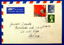 England To Latvia Letter - Red Car Used Stamp Dated 1997 Y - 1840 Mulready-Umschläge