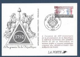 France - Carte Maximum - Entier Postal - L'an Premier De La République - 1992 - Maximum Cards