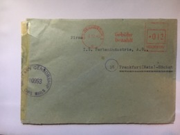GERMANY 1945 Gebuhr Bezahlt Cover With Osnabruck Meter Mark To Frankfurt With Censor Cachet - Zona AAS