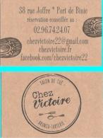 Carte De Visite - Chez Victoire : Salon De Thé - Brunch- Tarterie - Port De Binic (22) - Visitekaartjes