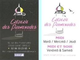 Carte De Visite - Crêperie Des Promenades Sur Place & à Emporter - Saint-Brieuc (22) - [restaurant] - Visitekaartjes