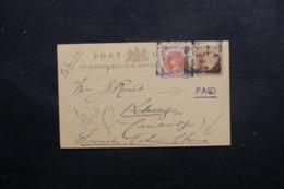 ROYAUME UNI - Entier Postal + Complément De Londres Pour L 'Indochine En 1895 - L 46377 - Stamped Stationery, Airletters & Aerogrammes