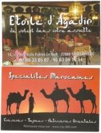 Carte De Visite - Etoile D'Agadir - Spécialités Marocaines - Saint-Brieuc (22) - [restaurant - Chameau] - Visitekaartjes