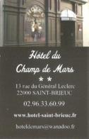 Carte De Visite - Hôtel Du Champ De Mars - Saint-Brieuc (22) - Visitekaartjes