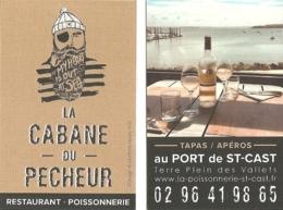 Carte De Visite - La Cabane Du Pêcheur : Restaurant - Poissonnerie Au Port De Saint-Cast (22) Tapas / Apéros - Visitekaartjes