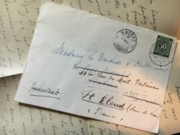 GERMANY 1947 Allied Entire  Matran To Switzerland Re-directed To St. Cloud France - Letter In French - Zone AAS