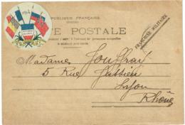 Sur CPFM Vignette Ronde 4 Drapeaux 1914 - Militair