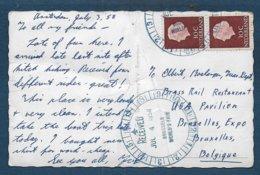 Carte Des Pays Bas Oblitérée à L'arrivée Par Cachet Spécial à L'exposition De Bruxelles - Postmark Collection