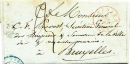 402/30 --  Lettre Non Affranchie FURNES 1854 Vers BRUXELLES - Taxée 3 Décimes - Belgique