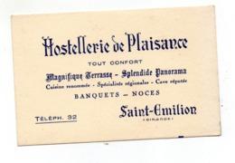 Saint Emilion Carte Hostellerie Plaisance - Visitekaartjes