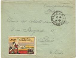 Expo Inter; Lyon 1914 Sur Lettre En Franchise - Erinnophilie