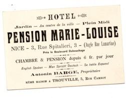 Nice Pension Marie Louise Propriétaire Antonin Barge Rue Spitalieri - Visitekaartjes