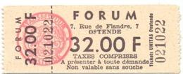 Ticket D' Entrée Ingangsticket - Cinema Bioscoop Ciné Forum - Oostende - Tickets - Entradas