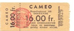 Ticket D' Entrée Ingangsticket - Cinema Bioscoop Ciné Cameo - Oostende - Tickets - Entradas