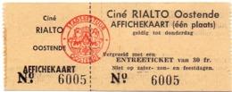 Ticket D' Entrée Ingangsticket - Cinema Bioscoop Ciné Rialto - Oostende - Tickets - Entradas