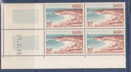 N° 978 Série Touristique: Royan: Beau Bloc De 4Timbres Neuf Impeccable Coins Datés 21.2.55 - 1950-1959