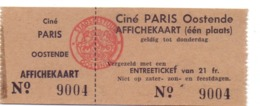 Ticket D' Entrée Ingangsticket - Cinema Bioscoop Ciné Paris - Oostende - Tickets - Entradas