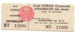 Ticket D' Entrée Ingangsticket - Cinema Bioscoop Ciné Corso - Oostende - Tickets - Entradas